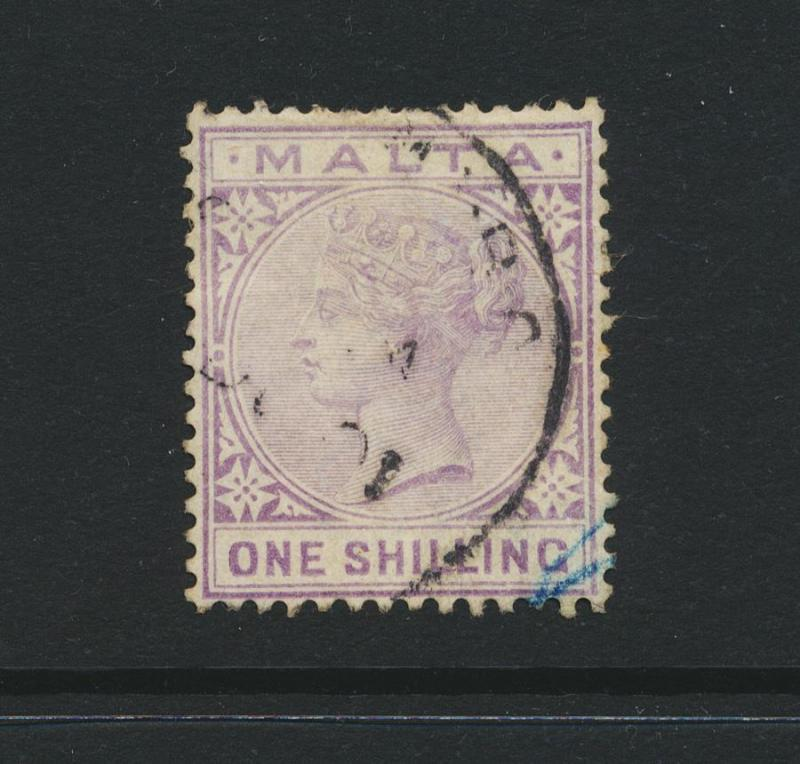 MALTA 1890, 1sh WMK CA, VF USED SG#29 (SEE BELOW)