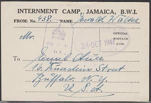JAMAICA 1942 INTERNMENT CAMP postcard to USA - censor D5..................54781
