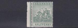 BARBADOS  1892 - 03      S G 106   1/2D  GREEN           MH