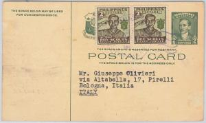 BOY SCOUTS -  PHILIPPINES -  POSTAL HISTORY: POSTAL STATIONERY CARD to ITALY