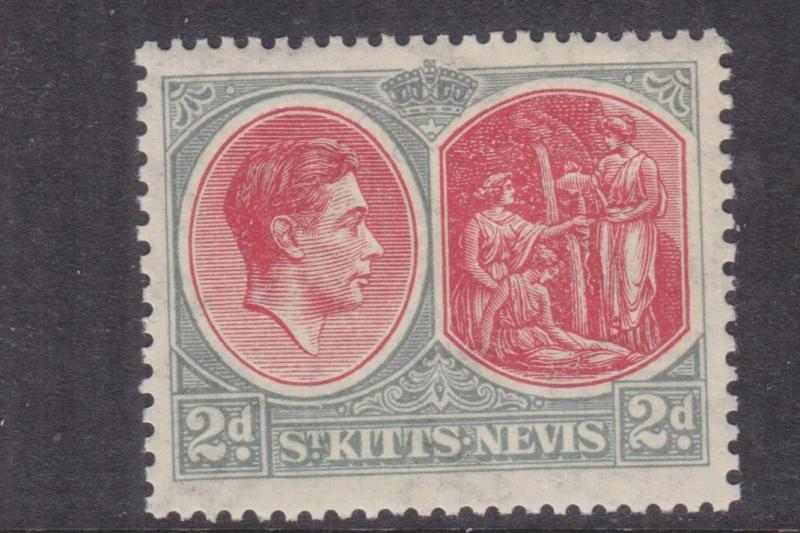 St. KITTS NEVIS, 1938 KGVI perf. 13 x 12, 2d. Scarlet & Grey, lhm.