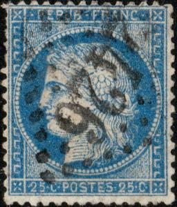 FRANCE - Yv.60A 25c (T.1) non planché - Obl. GC2426 (Montargis) - B