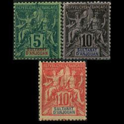 ANJOUAN 1892 - Scott# 4-6 Goddess 5-10c LH