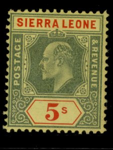 SIERRA LEONE EDVII SG110, 5s green and red/yellow, M MINT. Cat £50.