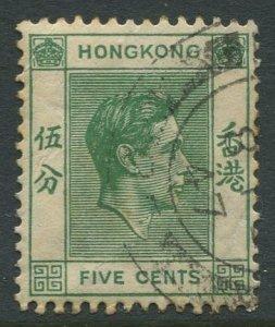 STAMP STATION PERTH Hong Kong #157 KGVI Definitive  FU CV$0.25