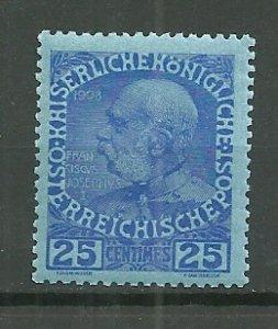1908 Austria Office in Crete Sc18  25c Franz Joseph MH
