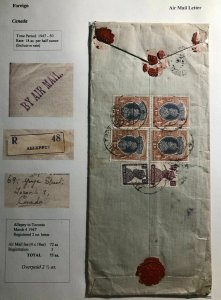 1947 Allepey India Airmail Commercial Cover To Toronto Canada Wax Seal