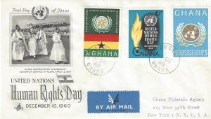 Ghana 89-91 FDC Human Rights Day Registered