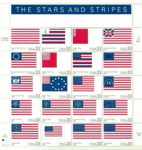 US: 2000 STARS AND STRIPES - Flags; Complete Sheet Sc 3403; 33 Cents Values