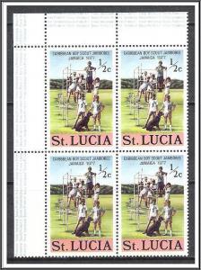 St Lucia #419 Scouts Corner Block MNH