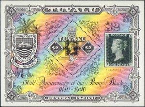 Tuvalu  #539-540, Complete Set(4), Specimen Overprint, 1990, Stamp Show, Stam...