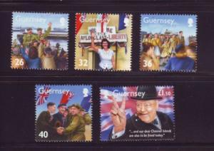 Guernsey Sc 855-9 2005 WWII Memories stamp set mint NH