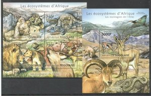 TG1002 2011 TOGO FAUNA WILD ANIMALS ECOSYSTEMS AFRICAN ATLAS BL+KB MNH STAMPS