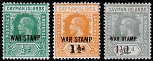 Cayman Islands Scott MR5, MR6, MR7 (1919-20) Mint H F-VF, CV $7.20 M