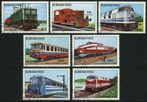 Burkina Faso 732-738,CTO.Michel 1043-1049. Locomotives 1985.