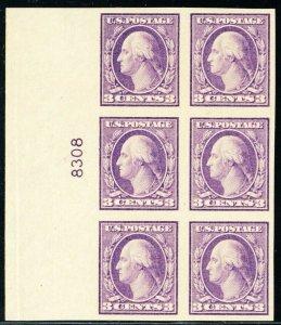 484, Mint NH Superb 3¢ Plate Block of Six Stamps - Stuart Katz