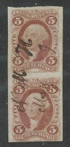 R27a Used, First Issue, 5c. Red, imperf Vertical Pair