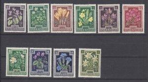 J29487, 1948 austria set mhr #b235-44 flowers