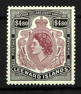 Leeward islands 1954 QEII $4.80 sg140 Mint (1v) Stamp