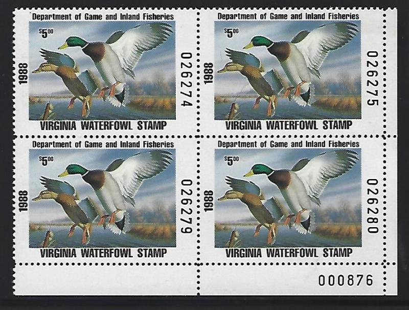 USA State-Duck Virginia M/N/H VF centered. Face Value $20.00 Start at$7.50