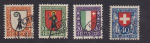 Switzerland   #B25-B28  used  1923   Pro Juventute   Arms
