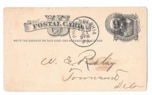 1880 Philadelphia PA 4 Ring Numeral 9 Duplex Fancy Cancel Sc UX5 Postal Card