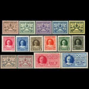 VATICAN 1929 - Scott# 1-13+E1-2 Pope Pius Set of 15 NH