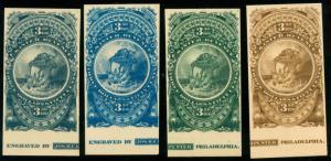 momen: US Stamps Turner Essay #76-A 4 Shades Imprints