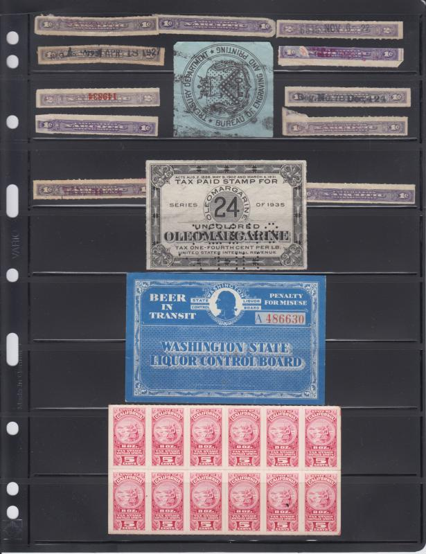Stamp Collection U.S. Used State & Federal Revenues - United Nations Mint N/H
