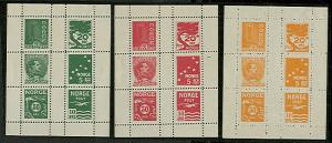 NORWAY 1912, ESSAYS, sheetlets of 6 in 5 diff colors NH scarce