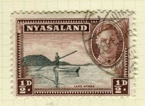 NYASALAND; 1945 early GVI issue fine used 1/2d. value