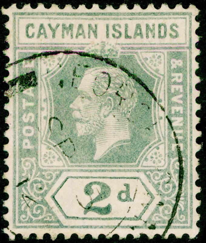 CAYMAN ISLANDS SG43, 2d pale grey, FINE USED, CDS. Cat £10.