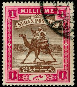 SUDAN SG10, 1m brown & pink, FINE USED.