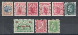 New Zealand Sc 71/176 MLH. 1898-1925 sets & better singles, 9 different stamps