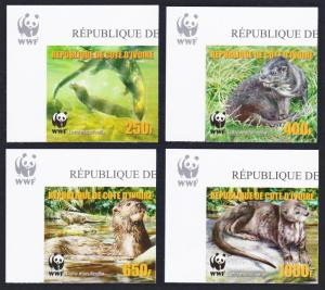 Ivory Coast WWF Speckle-throated Otter 4v Reprint Top Left Corners MI#1353-1356B