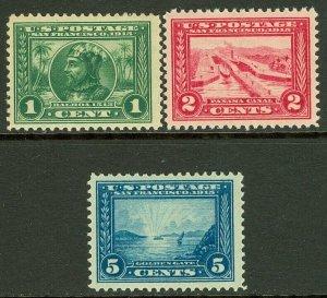 EDW1949SELL : USA 1913 Scott #397-99 VF-XF, Mint Original Gum. Catalog $96.00.