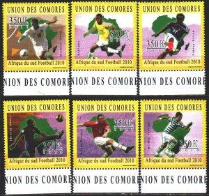 Comoro Islands. 2010. 2845-50. Football. MNH.