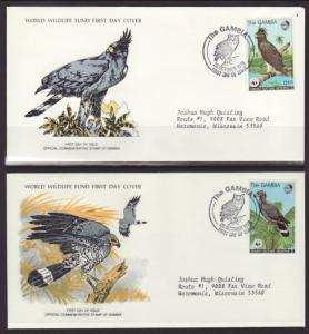 Gambia 381-384 Owls 1978 S/4 Typed FDC