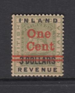 British Guiana - Scott 150 - Inland Revenue -1890 -MNH - Single 1c on a $3.00