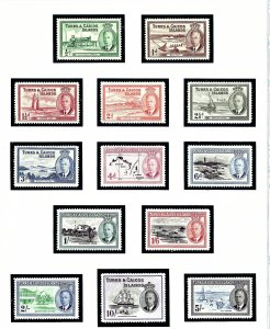 Turks and Caicos  105-17 MNH 1950 Definitive Set