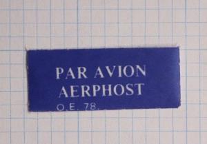 Airmail Etiquette label Mint Par Avion AERPHOST O.E.78 PO form Ireland AER-PHOST