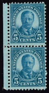 US STAMP #637 – 1927 5c Theodore Roosevelt UNUSED NG STAMP PAIR