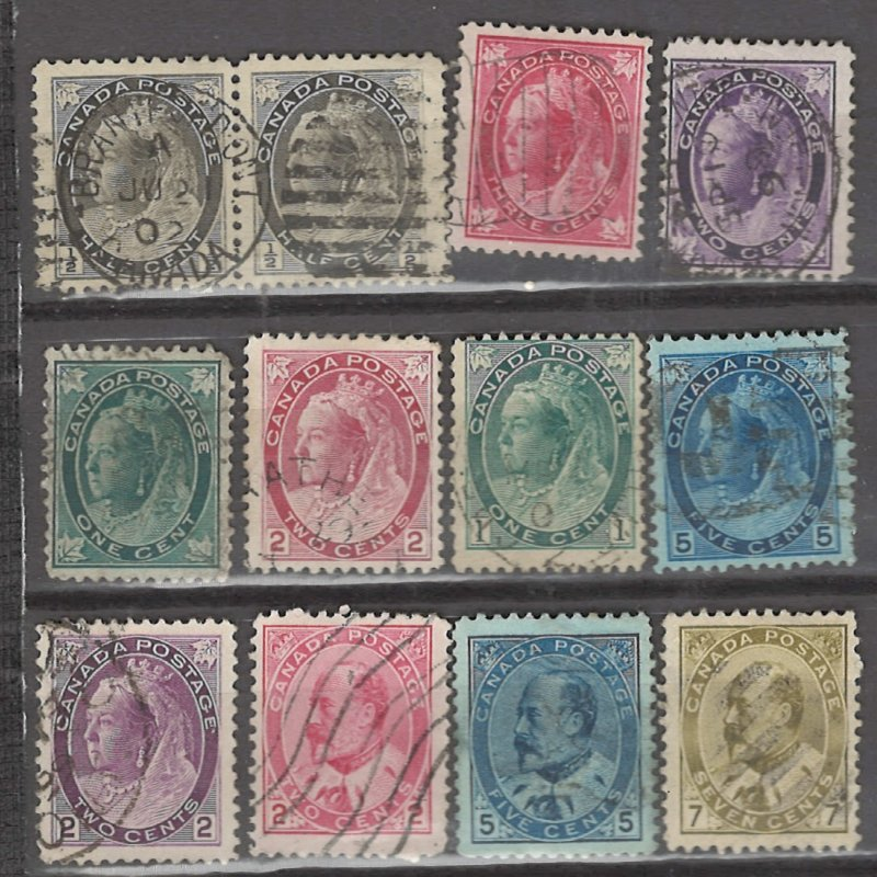 COLLECTION LOT # 3136 CANADA 12 STAMPS 1897+ CV+$29