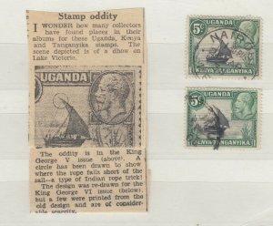Kenya Uganda & Tanganyika KGV 1935 5c Rope Not Joined SG111b Fine Used JK403