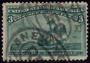 US Stamp #232 3c Columbian USED SCV $15