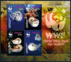 Palau 2006 fauna marine life Chambered Nautilus collective WWF s/s MNH