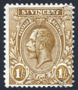 St Vincent 1913 1s Bistre Wmk Multi Crown CA SG 117 Scott 113 VFU Cat £32($41)