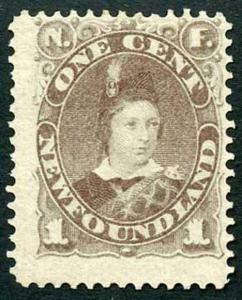 Newfoundland 1880 SG44 1c Dull Grey Brown Mint (hinge remainder)