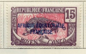 Middle Congo 1924 Early Issue Fine Mint Hinged 15c. Optd 324728