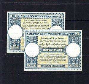 JASTAMPS: 2 INTERNATIONAL RESPONSE COUPONS UNUSED PHILIPPINES 24 CENTAVOS